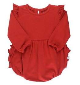 RuffleButts Flutter Bubble Romper, Red