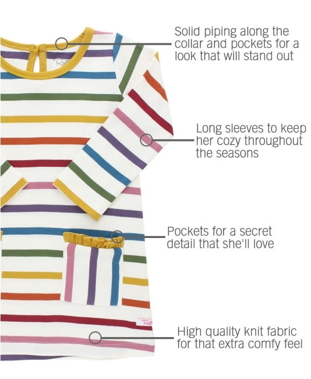RuffleButts Harvest Rainbow Stripe Pocket Dress