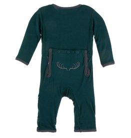 Kickee Pants Applique Coverall with Zipper Pine Deer Rack
