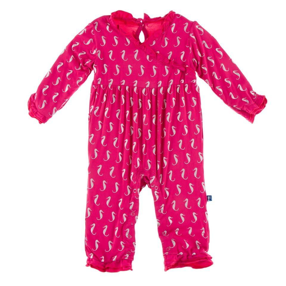 Kickee Pants Kimono Ruffle Romper Prickly Pear Mini Seahorses