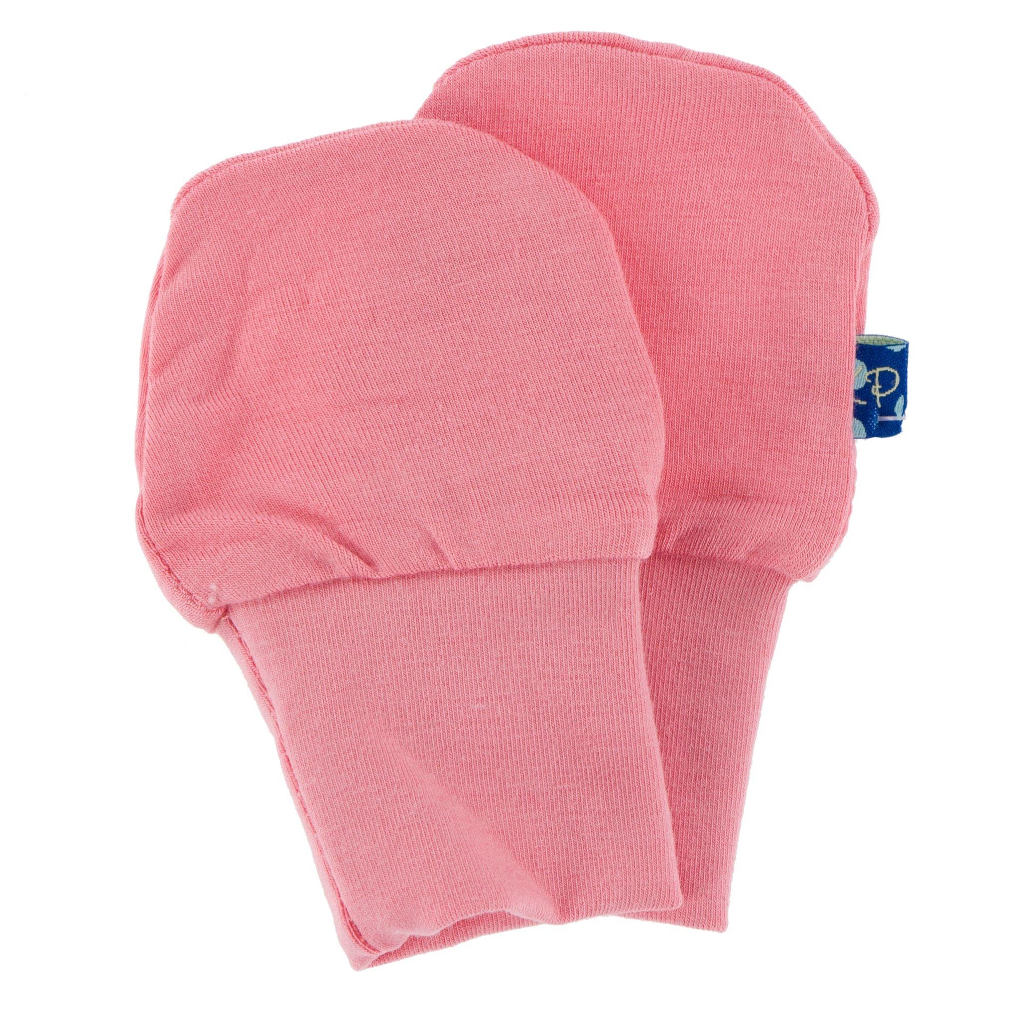 Kickee Pants Solid Newborn No-Scratch Paws Strawberry