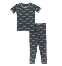 Kickee Pants Print Short Sleeve Pajama Set Stone Rainbow Trout