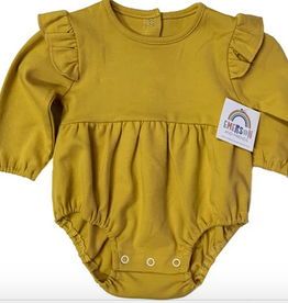 Emerson and Friends Mustard Yellow Long Sleeve Flutter Onesie