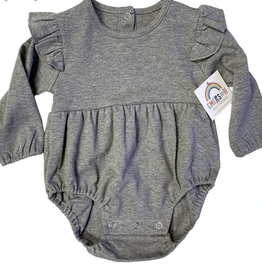 Emerson and Friends Heather Grey Long Sleeve Flutter Onesie
