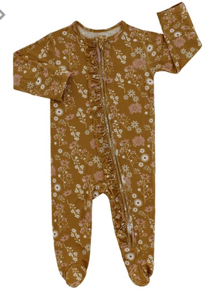 Emerson and Friends Mustard Floral Footed Romper Pajama