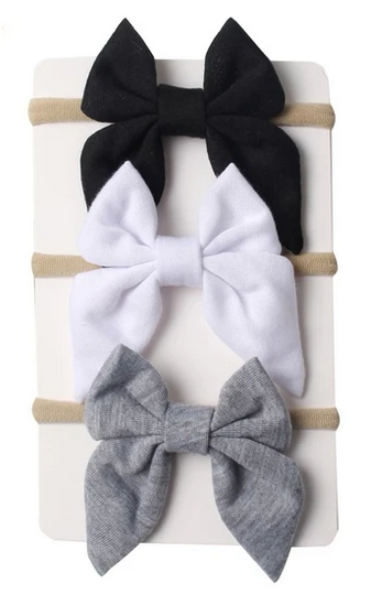 Emerson and Friends Neutral Nylon Baby Bows