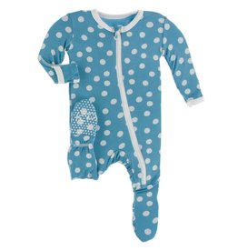 Kickee Pants Print Footie with Zipper  Blue Moon Snowballs 6-9M
