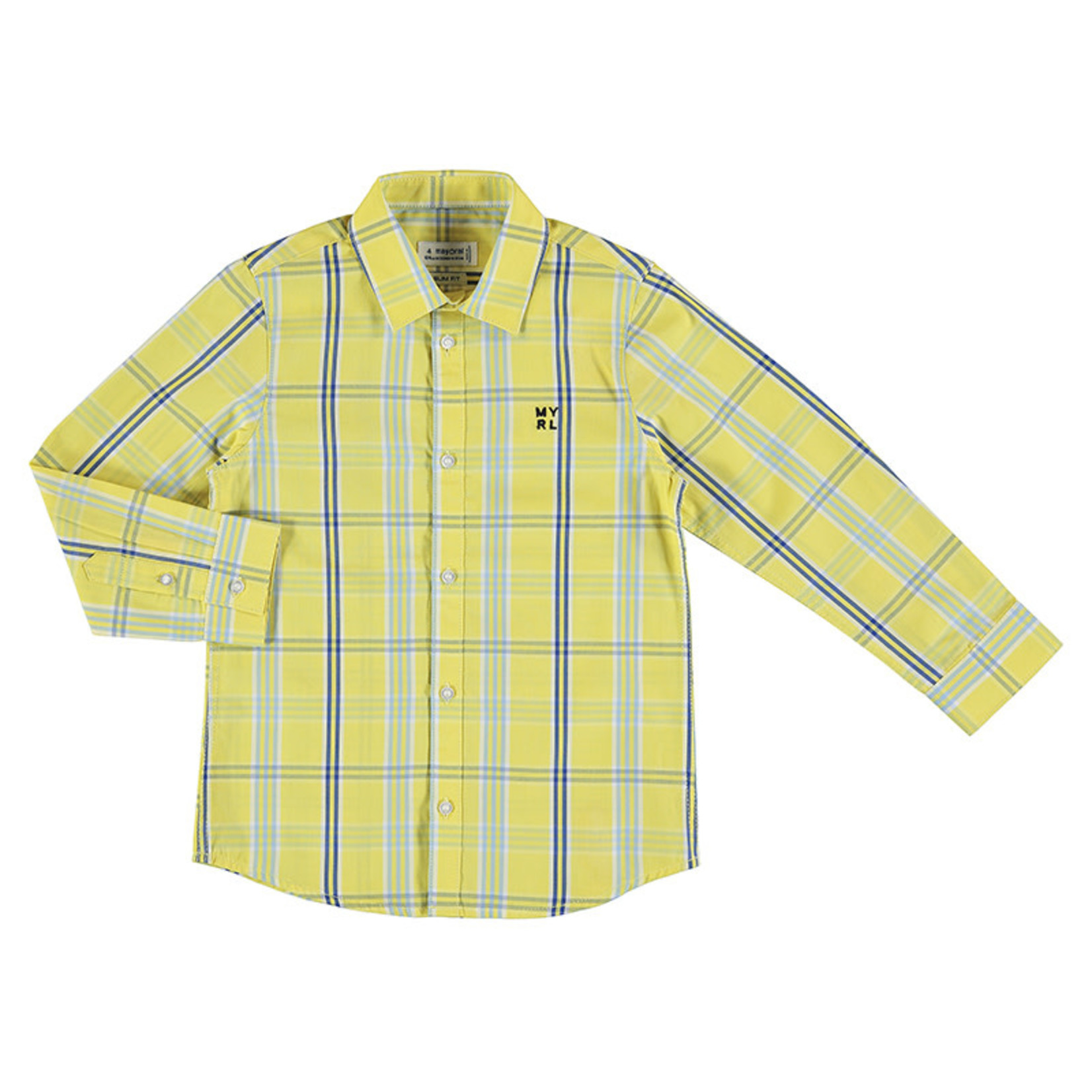 Mayoral Boys Long Sleeved Yellow Plaid Shirt