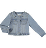 Mayoral Girls Bleached Aplique Denim Jean Jacket
