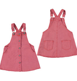 Mayoral Girl Twill Dungaree Overall Skirt - Coral