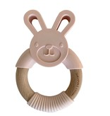 Chewable Charm Bunny Silicone + Wood Teether- Ballet Slippers