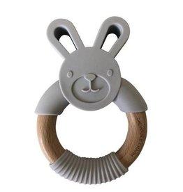 Chewable Charm Bunny Silicone + Wood Teether - Light Grey