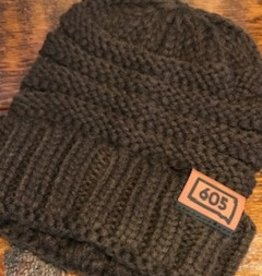 "Knit ""605"" Brown Beanie  OS"