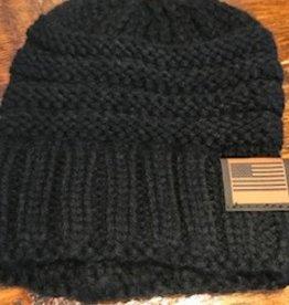 Knit Black Beanie  OS