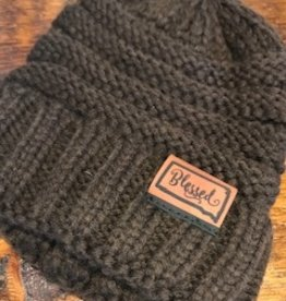"Knit ""Blessed"" Brown Beanie  OS"
