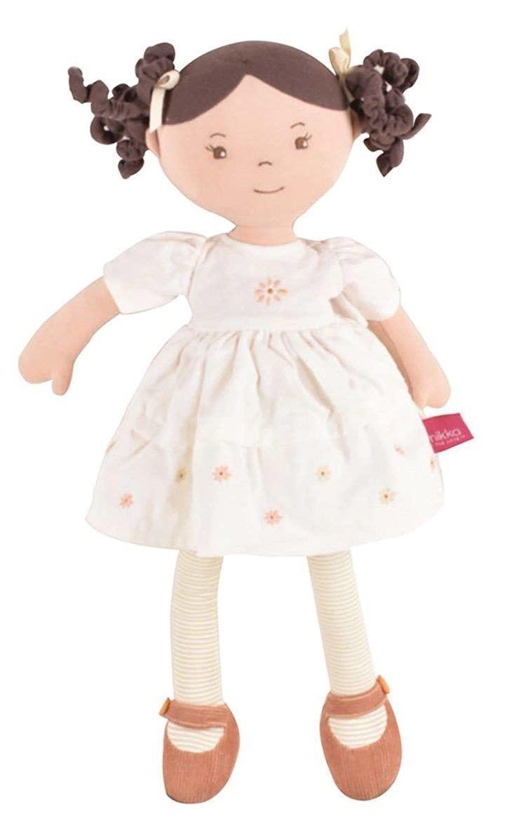 Tikiri Toys Cecilia Doll in Cream Linen Dress w/ Display Box