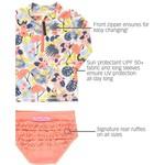 RuffleButts Tropical Flamingo Long Sleeve Zipper Rash Guard Bikini