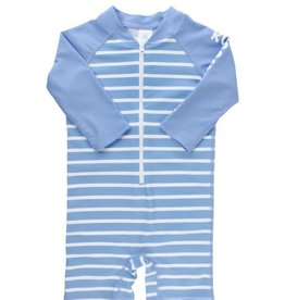 RuggedButts Cornflower Blue Stripe Rash Guard Bodysuit
