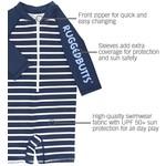 RuggedButts Navy Stripe Rash Guard Bodysuit