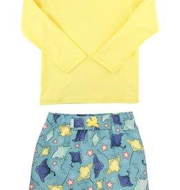 RuggedButts Starfish & Stingrays Swim Trunks & Lemon Rashguard Set