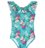 RuffleButts Fancy Me Floral Butterfly Sleeve One Piece (3t-7)