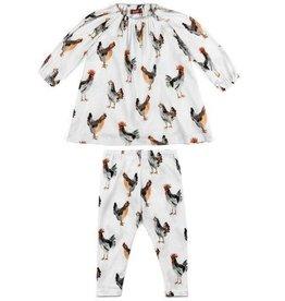 Milkbarn Kids Organic Long Sleeve Dress & Legging Set - Chickens