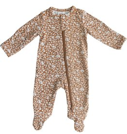 Mebie Baby Cotton Footed Zipper One-piece - Floral