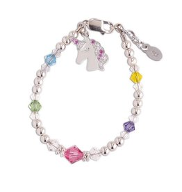 Cherished Moments Unicorn (Rainbow) - Sterling Silver Rainbow Unicorn Bracelet - Medium 1-5 Years