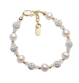 Cherished Moments Charlotte - 14K Gold Plated Pearl Baby or Child's Bracelet  Medium 1-5 Years