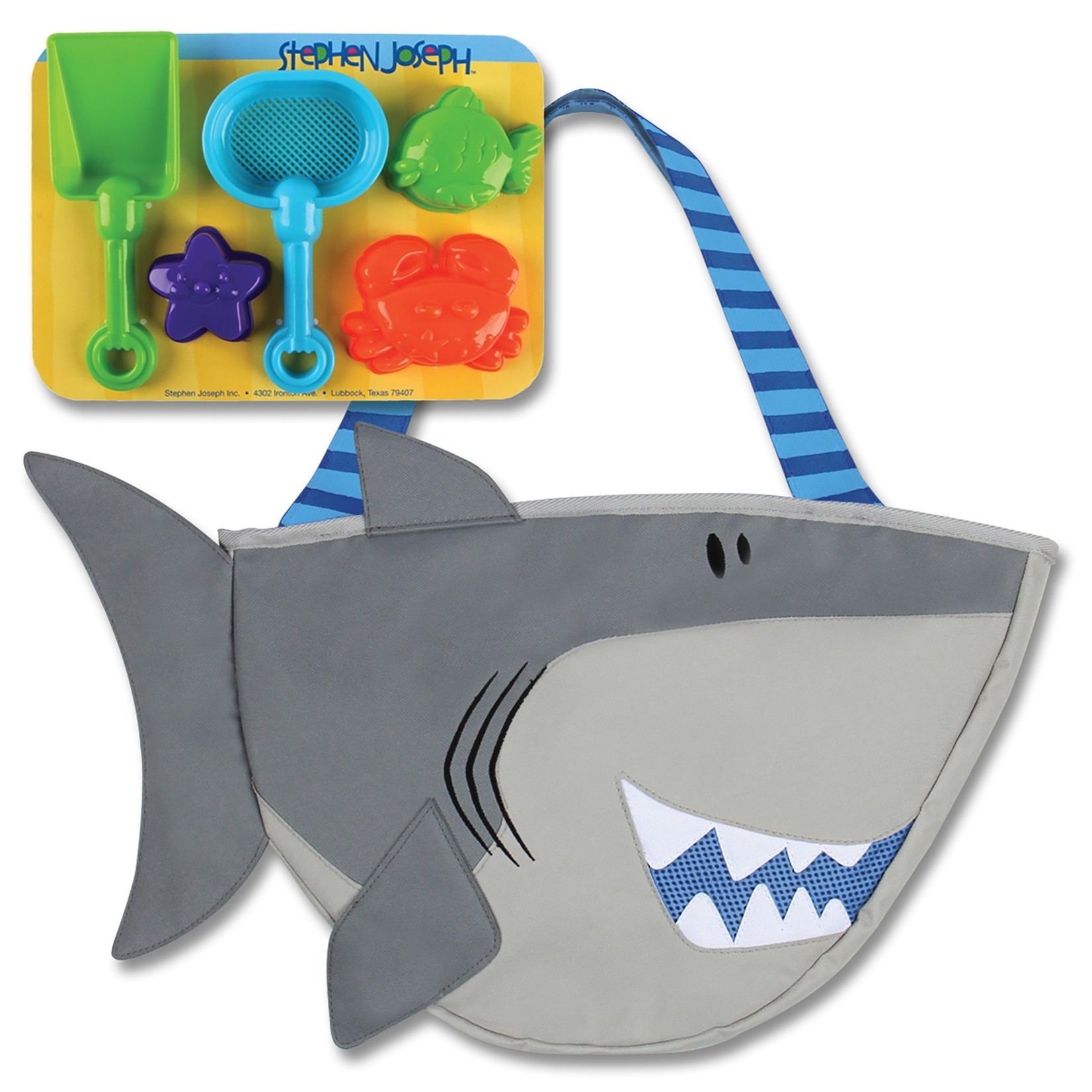 Stephen Joseph Gifts Beach Tote with Sand Toys  Shark Blue