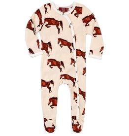 Milkbarn Kids Organic Footed Romper - Natural Horse