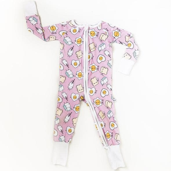 Little Sleepies Convertible Romper/Sleeper Pink Breakfast Buddies
