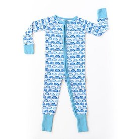 Little Sleepies Convertible Romper/Sleeper Blue Rainbows