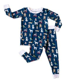 Little Sleepies Two Piece Pajama Set Puppy Love (Navy)