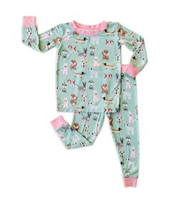 Little Sleepies Two Piece Pajama Set Puppy Love (Pink Trim)