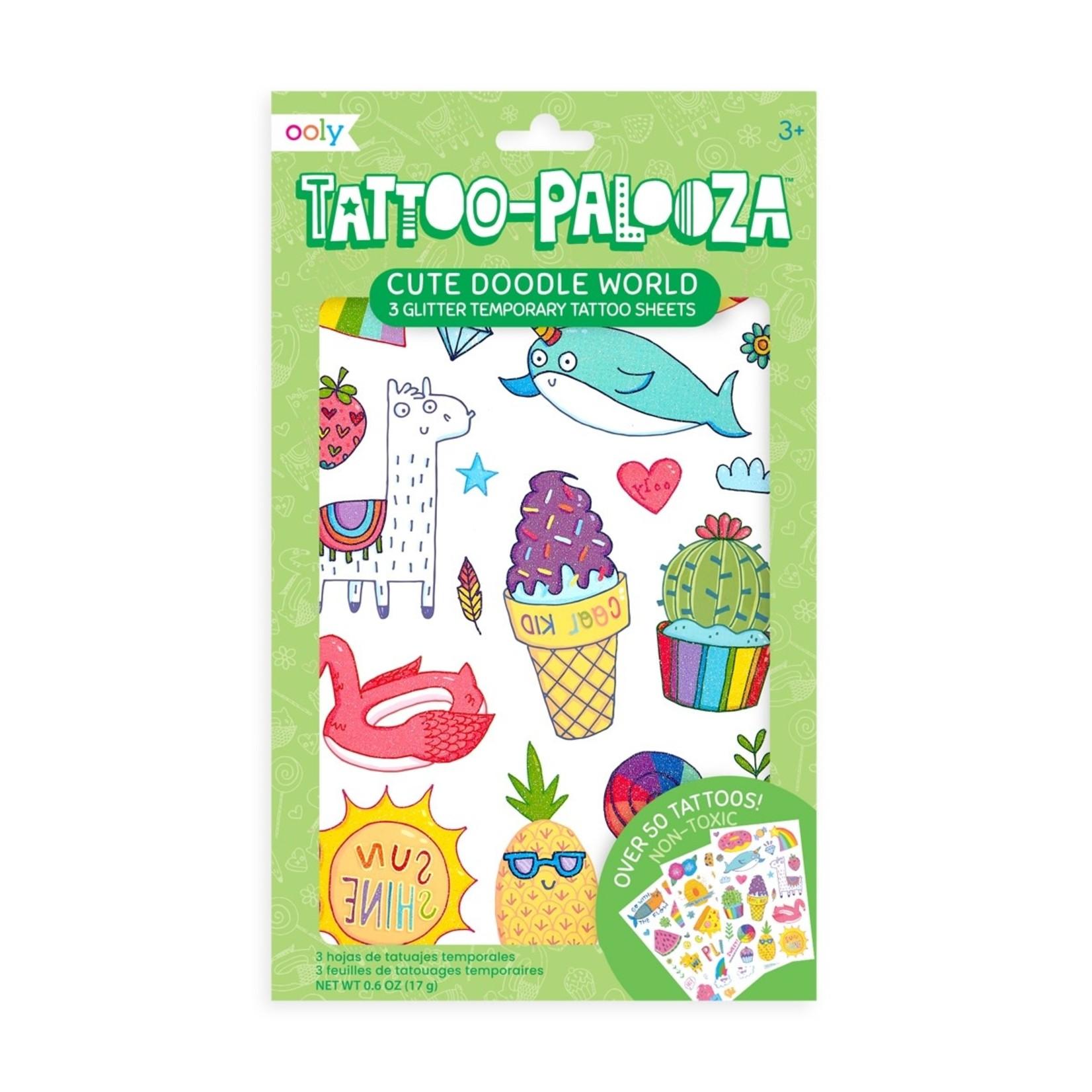 Ooly Tattoo Palooza Temporary Tattoo: Cute Doodle World
