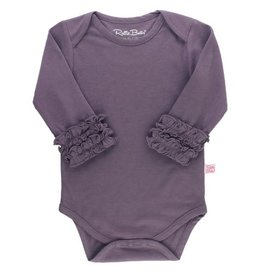 RuffleButts Ruffled Long Sleeve Layering Bodysuit Shadow Purple