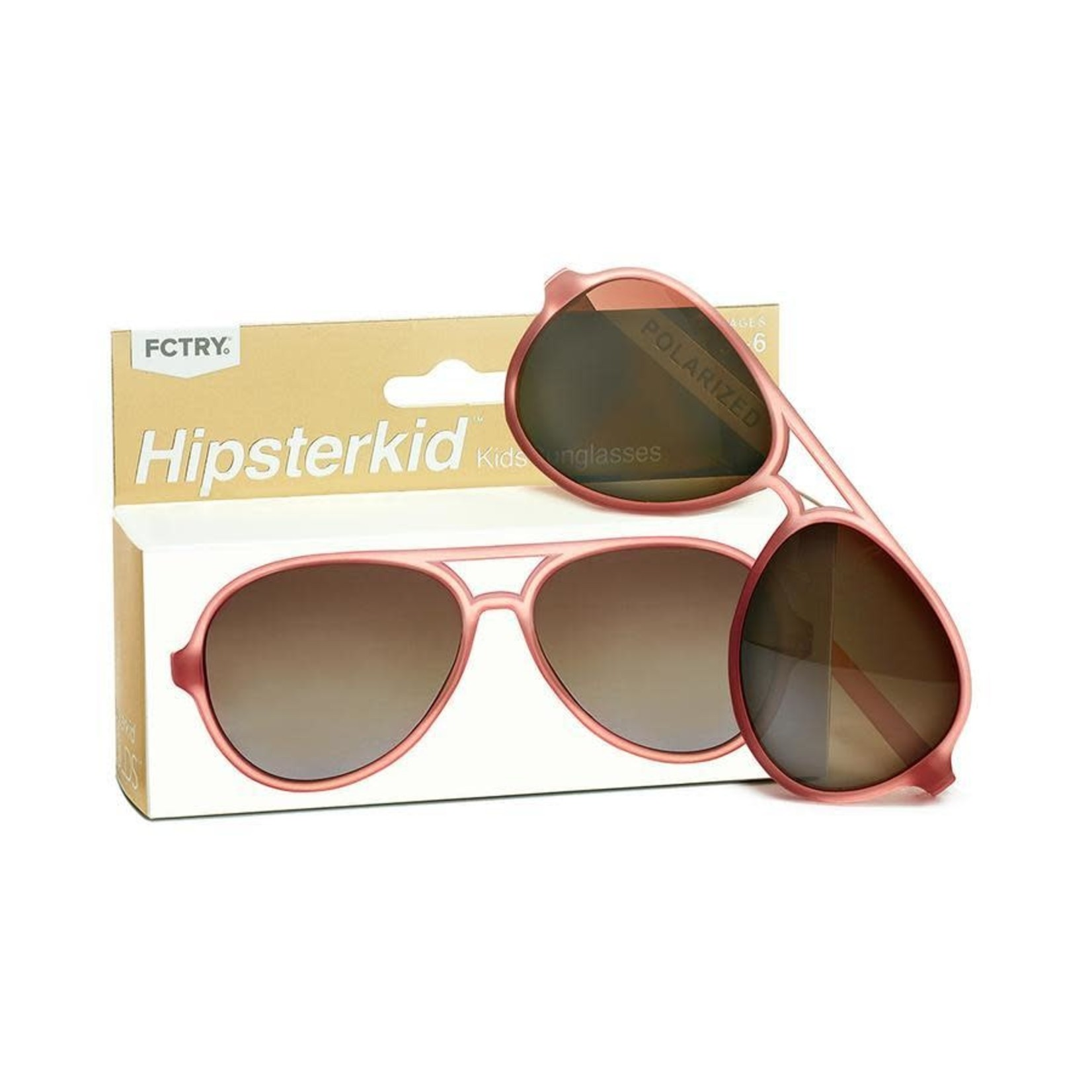FCTRY Hipsterkid Golds Aviator Baby Sunglasses, Rose (0-2y)