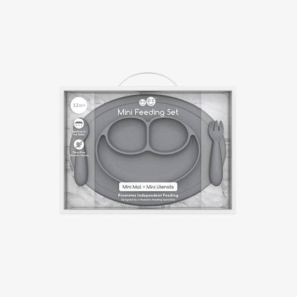 EZPZ Mini Feeding Set Grey (plate + utensils) New