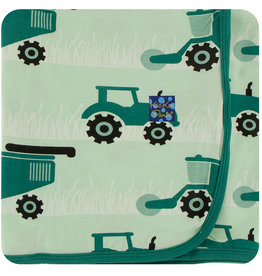 Kickee Pants Print Stroller Blanket Pistachio Tractors and Wheat - One Size