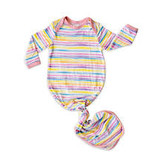 Little Sleepies Knotted Gown Sunrise Stripe