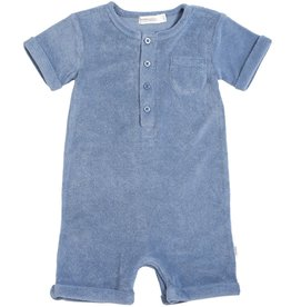 Miles Baby Baby Blue Terry Knit Romper