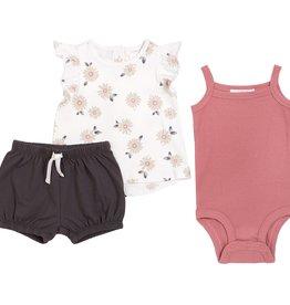 Petit Lem Baby 3Pc Set: Sleeveless Top, Diaper Shirt + Short Knit - Off White