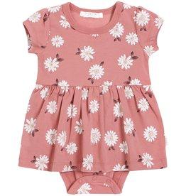 Petit Lem Baby S/S Skirted Romper Knit - Pink