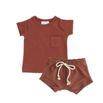 Mebie Baby Two Piece Short Set - Brick 4T
