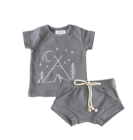 Mebie Baby Two Piece Short Set - Slate Camp 3T