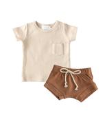 Mebie Baby Two Piece Short Set - Oat/Honey 18M