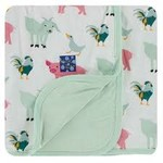 Kickee Pants Print Stroller Blanket Natural Farm Animals - One Size