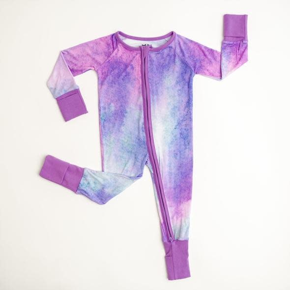 Little Sleepies Convertible Romper/Sleeper Purple Watercolor