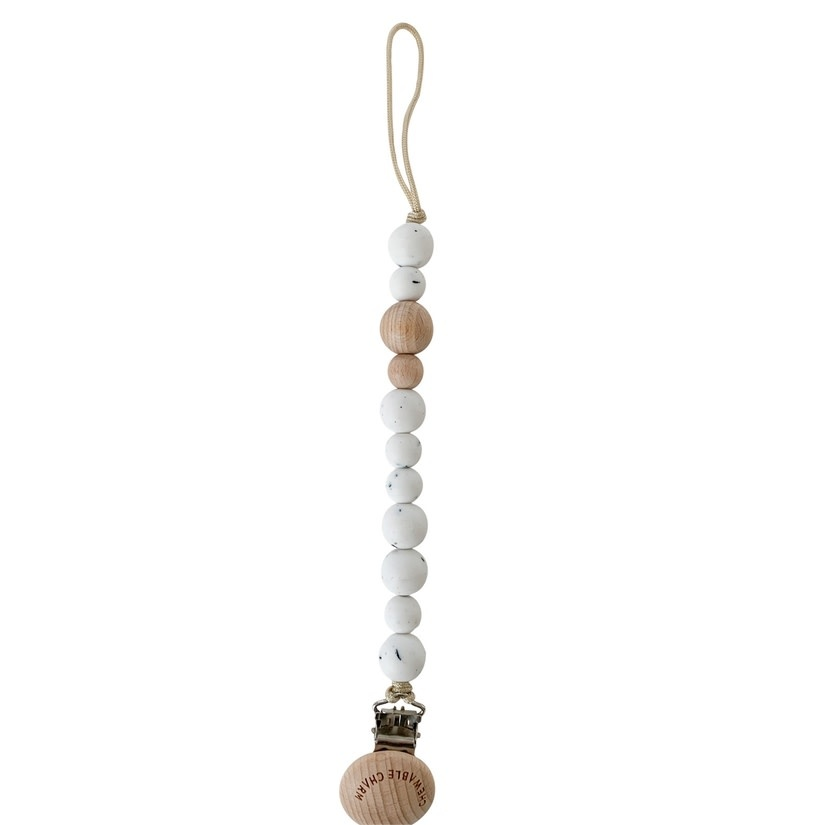 Chewable Charm Classic Pacifier Clip - Wood+ Moonstone